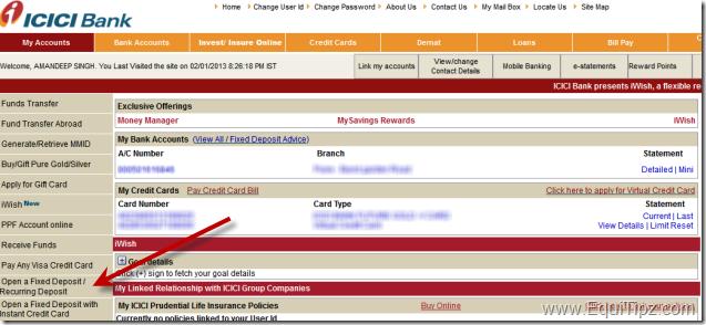 Recurring Deposit - ICICI Bank Netbanking Online